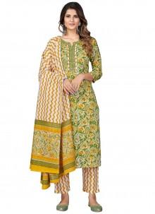 Multi Colour Cotton Print Pant Style Suit