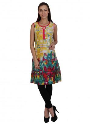 Multi Colour Cotton Print Party Wear Kurti