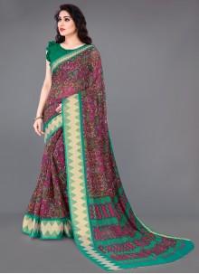 Multi Colour Cotton Printed Saree