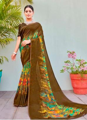 Multi Colour Cotton Silk Abstract Printed Saree