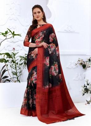 Multi Colour Cotton Silk Casual Printed Saree