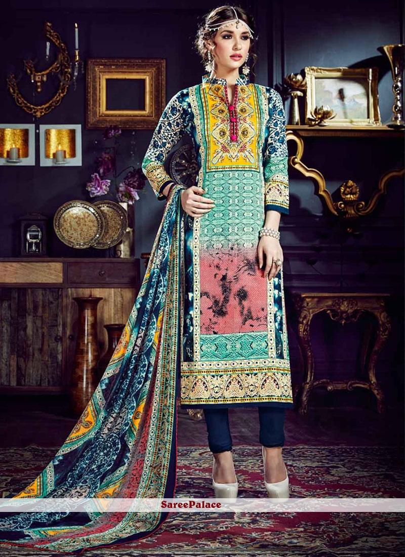 Multi Colour Cotton Silk Pant Style Suit