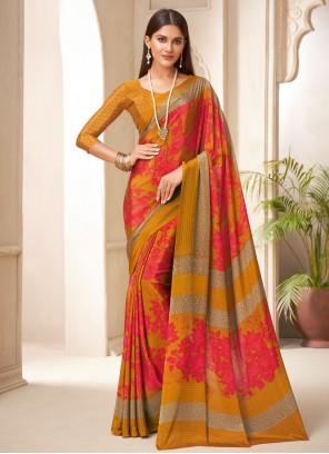 Multi Colour Crepe Silk Abstract Print Traditional Saree