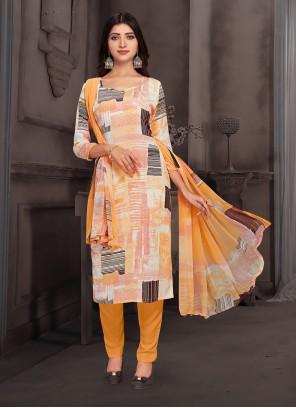 Multi Colour Crepe Silk Pant Style Suit