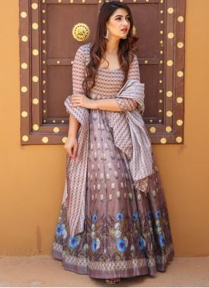 Multi Colour Digital Print Chanderi Floor Length Designer Suit