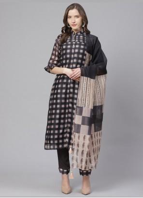 Multi Colour Digital Print Chanderi Pant Style Suit