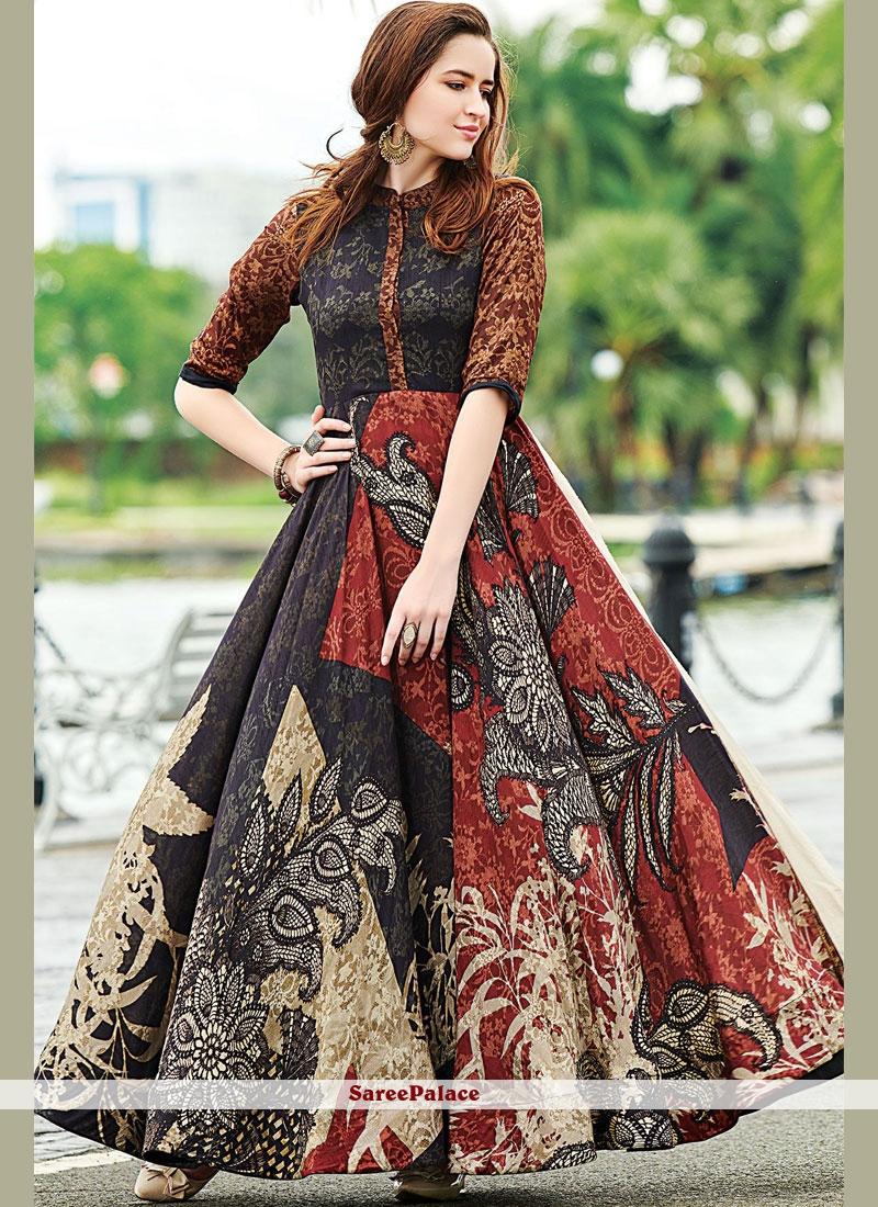 274c912158 Buy Multi Colour Digital Print Cotton Designer Gown Online