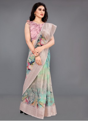 Multi Colour Digital Print Party Classic Saree