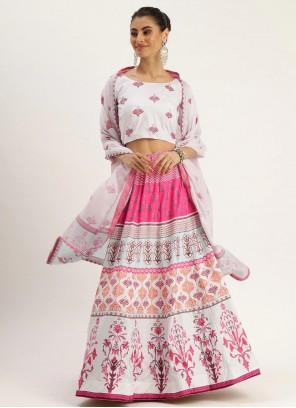 Multi Colour Digital Print Silk A Line Lehenga Choli
