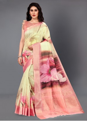 Multi Colour Digital Print Silk Casual Saree