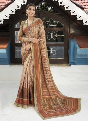 Multi Colour Digital Print Silk Designer Traditional Saree