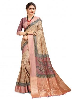 Multi Colour Digital Print South Cotton Saree