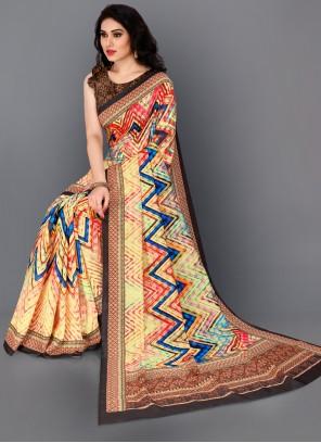 Multi Colour Digital Print Trendy Saree