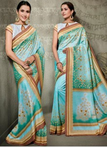 Multi Colour Digital Print Tussar Silk Traditional Saree