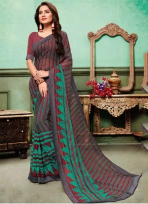 Multi Colour Embroidered Classic Saree