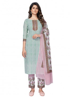Multi Colour Embroidered Cotton Readymade Suit