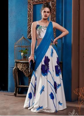 Multi Colour Embroidered Designer Gown