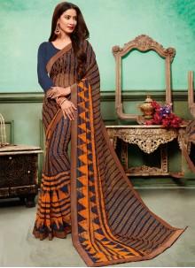 Multi Colour Embroidered Georgette Classic Saree