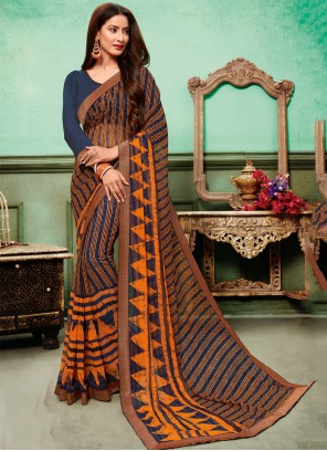 Multi Colour Embroidered Georgette Classic Saree