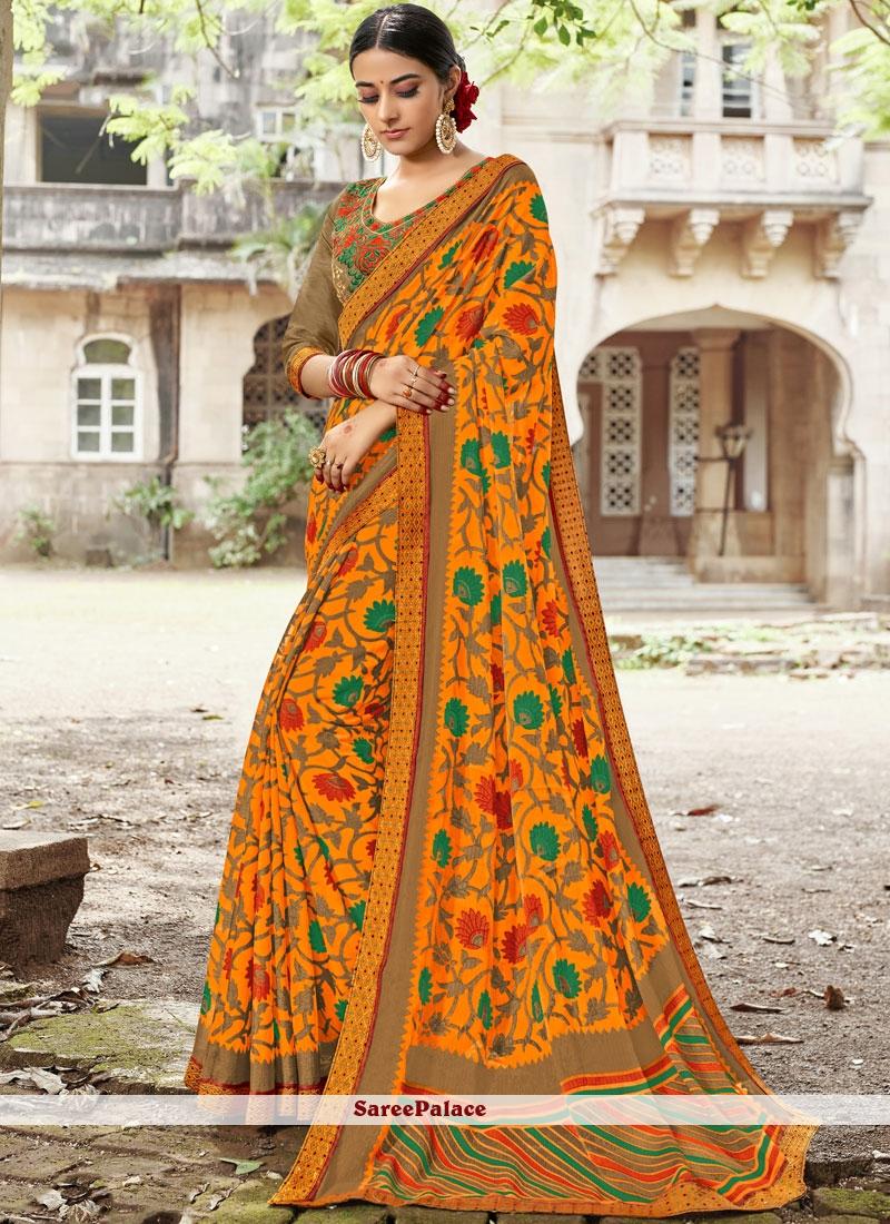 Multi Colour Embroidered Saree