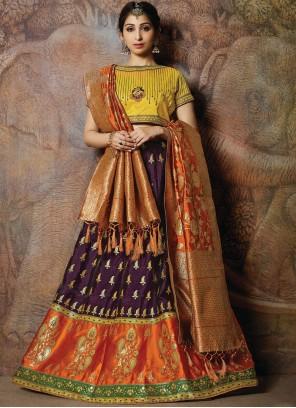 Multi Colour Embroidered Silk Designer Lehenga Choli