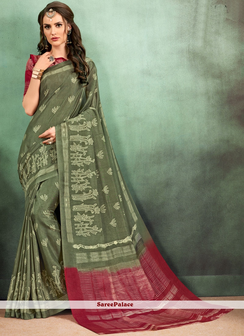 Multi Colour Fancy Fabric Abstract Print Casual Saree