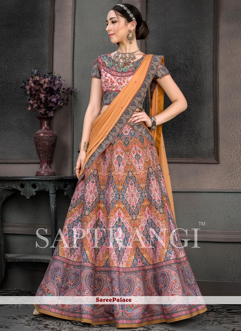 Multi Colour Fancy Fabric Print Lehenga Choli
