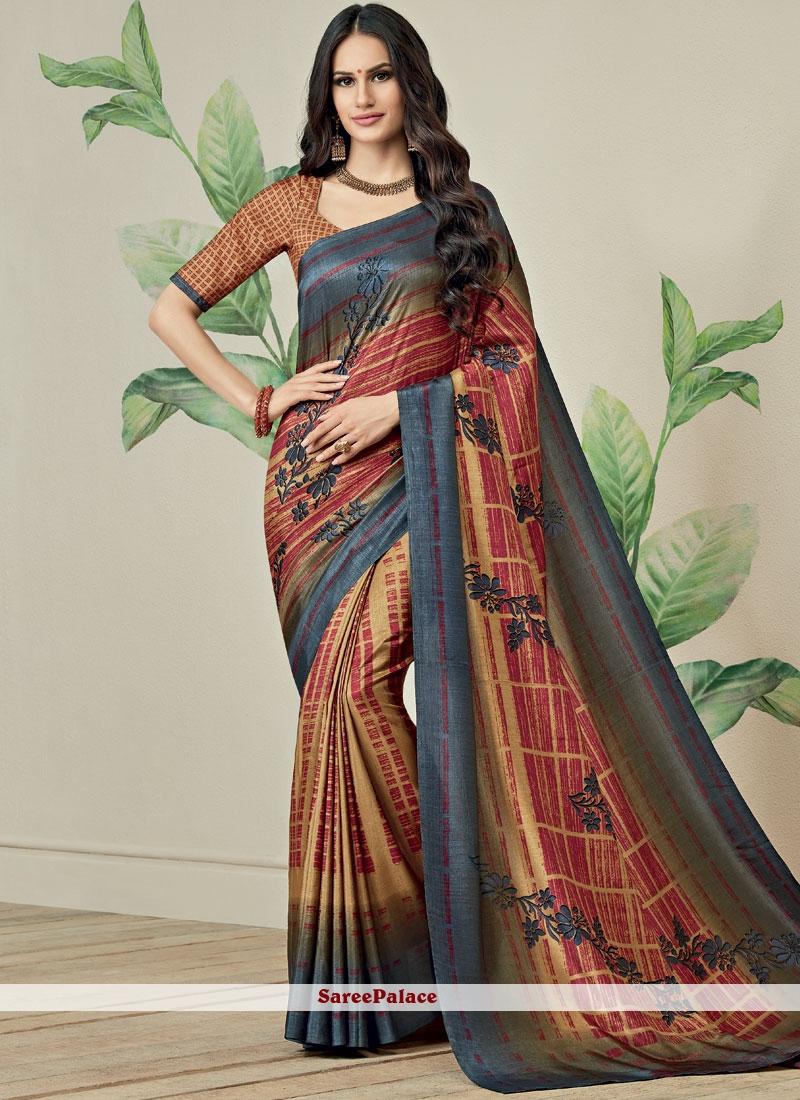 Multi Colour Fancy Fabric Printed Saree