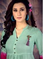 Multi Colour Fancy Rayon Party Wear Kurti
