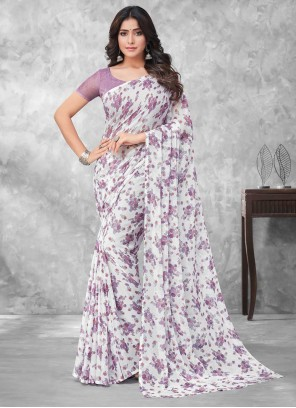 Multi Colour Faux Chiffon Abstract Print Traditional Saree