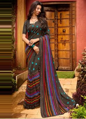 Multi Colour Faux Chiffon Classic Saree