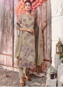 Multi Colour Faux Crepe Designer Pakistani Suit