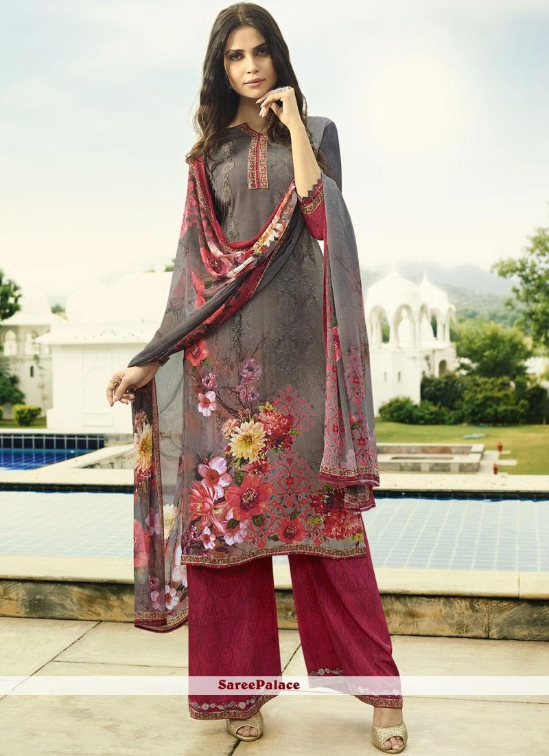 Multi Colour Faux Crepe Designer Palazzo Suit