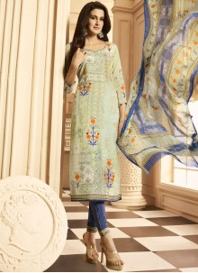 Multi Colour Faux Crepe Designer Suit