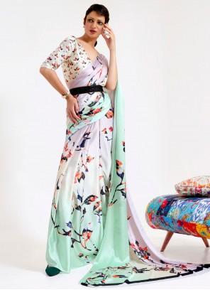 Multi Colour Faux Crepe Printed Saree