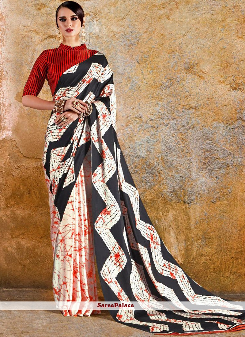 Multi Colour Faux Crepe Print Printed Saree