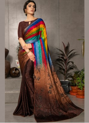 Multi Colour Faux Crepe Printed Casual Saree