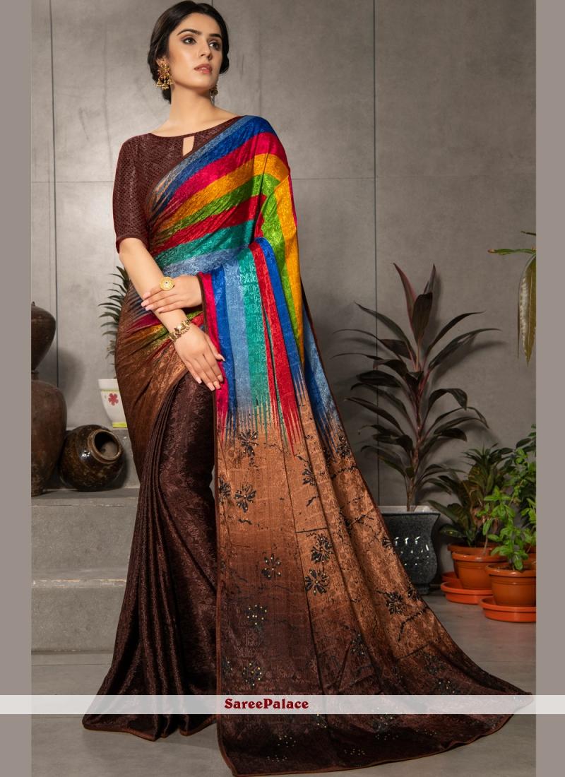 Multi Colour Faux Crepe Printed Casual Saree