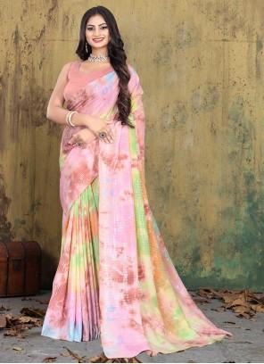 Multi Colour Faux Crepe Trendy Saree