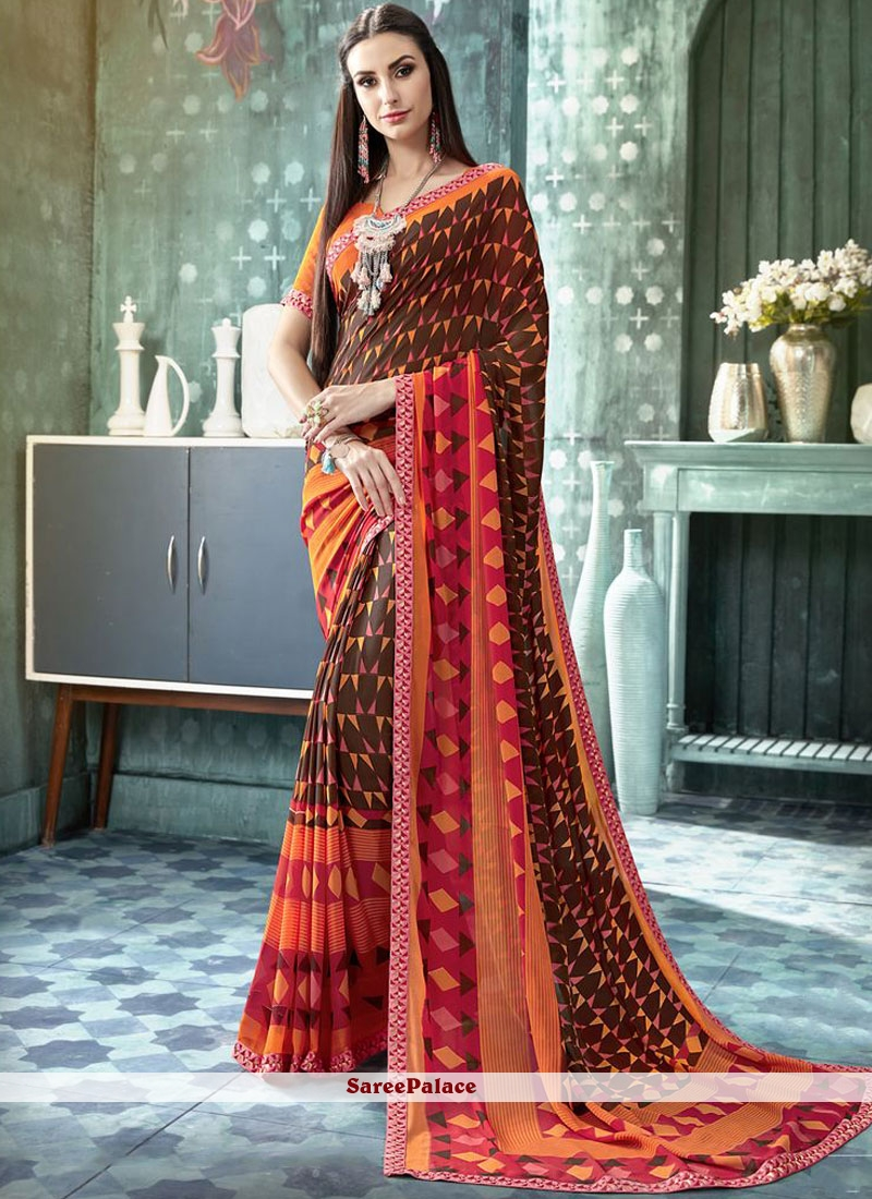 Multi Colour Faux Georgette Abstract Print Casual Saree