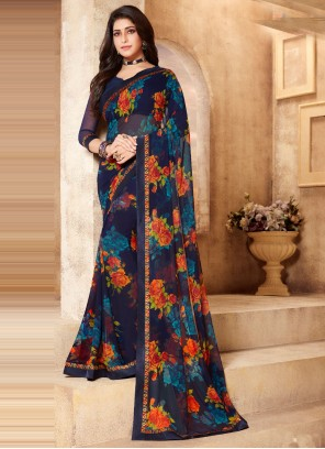 Multi Colour Faux Georgette Abstract Print Classic Saree