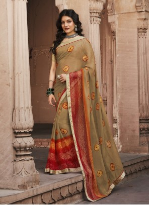 Multi Colour Faux Georgette Abstract Print Saree