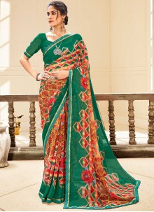 Multi Colour Faux Georgette Abstract Print Traditional Saree