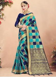 Multi Colour Festival Art Banarasi Silk Designer Traditional Saree