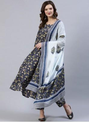 Multi Colour Festival Cotton Readymade Suit