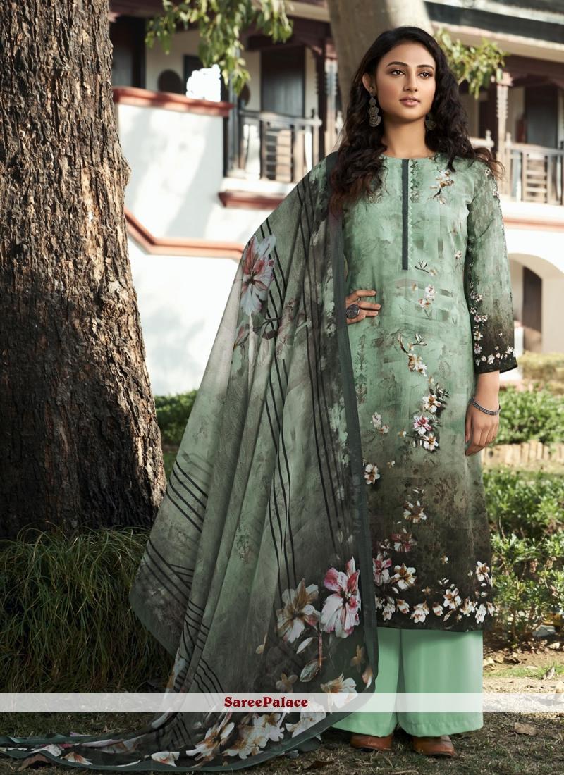 Multi Colour Festival Faux Crepe Designer Palazzo Salwar Kameez