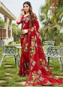 Multi Colour Fancy Fabric Festival Saree