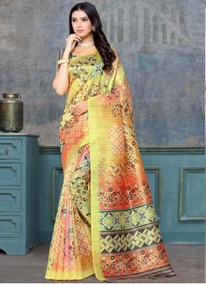 Multi Colour Festival Tussar Silk Classic Designer Saree