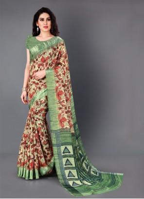 Multi Colour Floral Print Classic Saree
