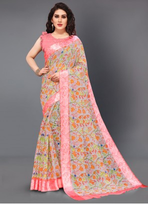 Multi Colour Floral Print Cotton Casual Saree